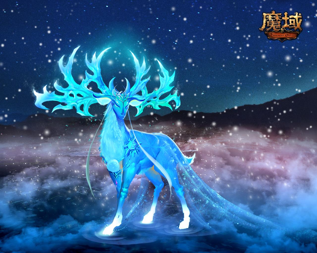 制作出缰绳圣诞极光鹿,深蓝色为主色调,全身散发着梦幻蓝色般的光芒!
